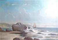 sailboats near a rocky coast by daniel charles grose