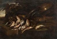 aguglie e triglie, un bacile con altri pesci, conchiglie, un totano ed aragoste by elena recco