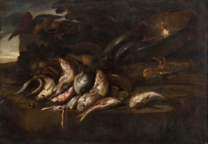 aguglie e triglie un bacile con altri pesci conchiglie un totano ed aragoste by elena recco