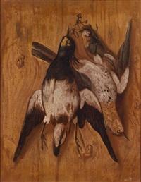 trompe-l'oeil-jagdstillleben mit erlegtem geflügel (pair) by philips angel