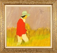 woman walking in fields by lamar briggs