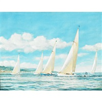 yachts racing in the solent by h.c. arrowsmith