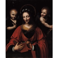 saint catherine with two angels by bernardino luini