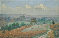 landscape with houses in the distance by imre goth