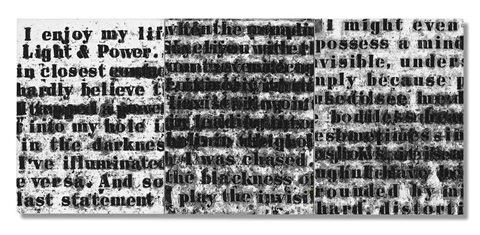 prologue series no.1 (text from ralph ellison) (triptych) by glenn ligon