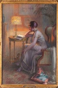 la lecture du soirpastel, signé et daté en bas à gauche.54 x 37 cm by delphin enjolras