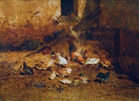 chicken and ducks in the hay by philibert-leon couturier