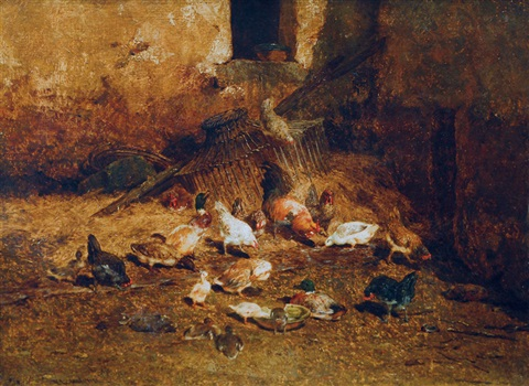 chicken and ducks in the hay by philibert leon couturier
