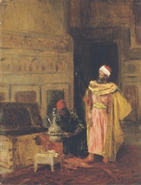 an arab with his servant by ludwig deutsch