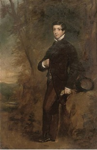 portrait of thomas edward fairfax in a black coat, holding gloves in his left hand, in a landscape by james godsell middleton