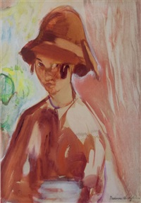 untitled (girl in a 1920s cloche hat) by frances mary hodgkins