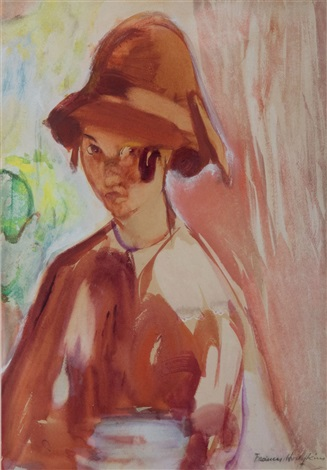 untitled girl in a 1920s cloche hat by frances mary hodgkins