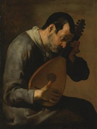the sense of hearing: a man playing a lute by master of the annunciation to the shepherds