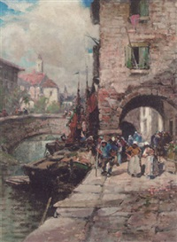 figures on a quay by frederick john bartram hiles