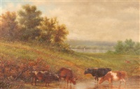 cattle at the stream by john william casilear