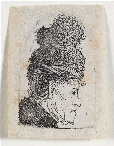 groteskes profil: mann mit hoher mütze by rembrandt van rijn