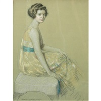 seated lady in a yellow party dress by harry solomon