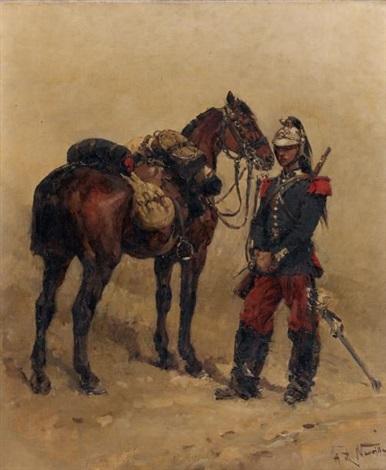 militaire et son cheval by alphonse marie de neuville