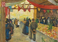 marché à sion (market in sion) by edmond bille