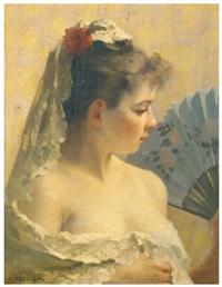 jeune femme à la mantille et éventail by fanny laurent fleury