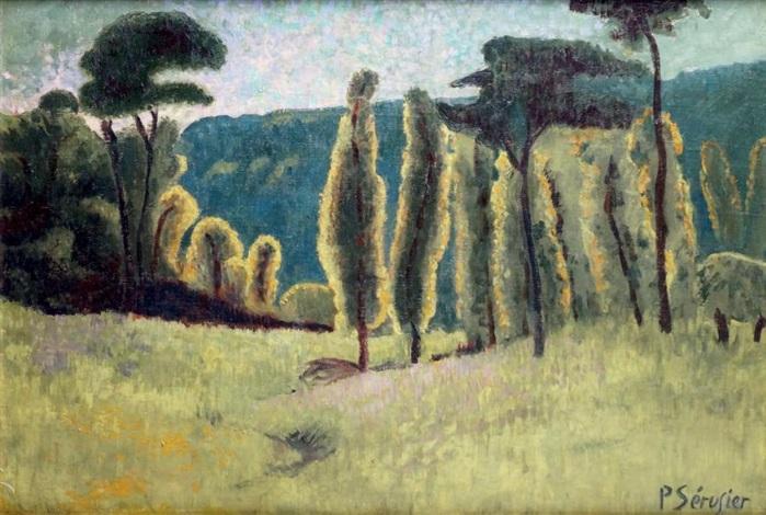 les peupliers et les pins dans un pré by paul sérusier