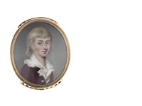the hon. thomas dawson (c.1771-1787), wearing plum jacket with pearl buttons, white waistcoat and chemise with frilled edge to his collar, his blond hair worn to his shoulders by henry spicer