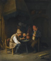 peasant family and dog beside the hearth by adriaen jansz van ostade