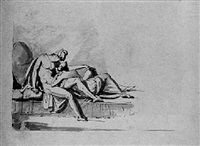 study of classical figures reclining by henry tresham