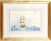 shipping in moonlight (+ 2 others; 3 works) by frederick james aldridge