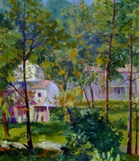 bucks county landscape with houses by paul remmey