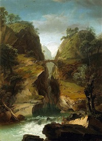 a gorge in a rocky landscape with a waterfall and a fisherman by johann-heinrich wüst