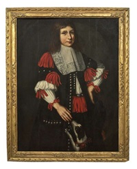 a portrait of a young man, three-quarter length, in a black costume with a lace ruff, crimson tied ribbons and an attendant spaniel by johann anton eismann
