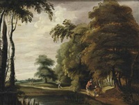 a wooded landscape with travelers on a track near a pond by lucas achtschellinck