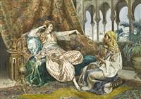 princesse orientale au narguilé et musicienne by ettore simonetti