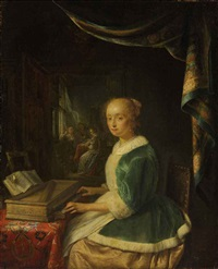 a young lady playing a clavichord by gerrit dou