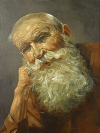 portret van een oude man by karel de bauw