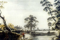 sportsmen in a river landscape with a stag hunt beyond by anglo-german school (18)