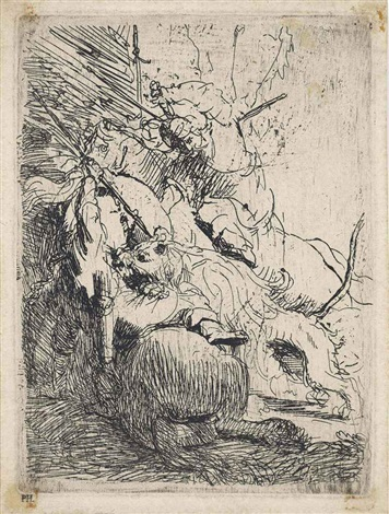 the small lion hunt with one lion by rembrandt van rijn