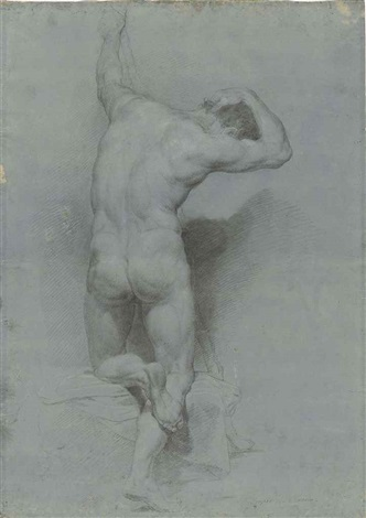 academic study of a male nude half kneeling seen from behind by pompeo girolamo batoni