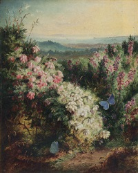 an extensive spring landscape with heather in bloom and butterflies by george lucas