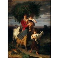 a mother and her children return from the fields by alfred van (jacques) muyden