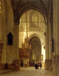 figures in the nieuwe kerk, amsterdam by jan jacob schenkel