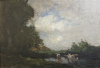 cattle watering near trees by nathaniel hone the younger