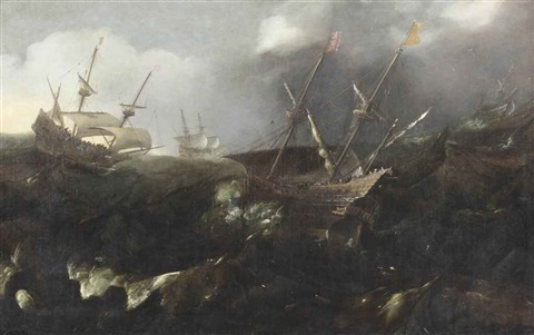 men of war in a storm by andries van eertvelt