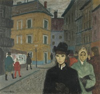 street scene with figures by bela czene