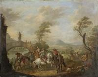 figures on horseback by a river, an open landscape beyond by carel van falens