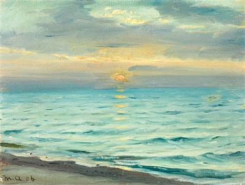 sunset at skagen beach by michael peter ancher