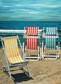 deckchairs on the beach by aryeh azéne