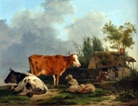 rustic landscape with cattle and sheep in foreground, family by cottage behind by jean-françois legillon