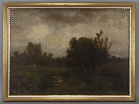 evening view of a woman by a river by george w picknell
